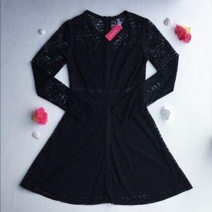 Xhilaration - Black, Long Sleeve, Laced Dress
